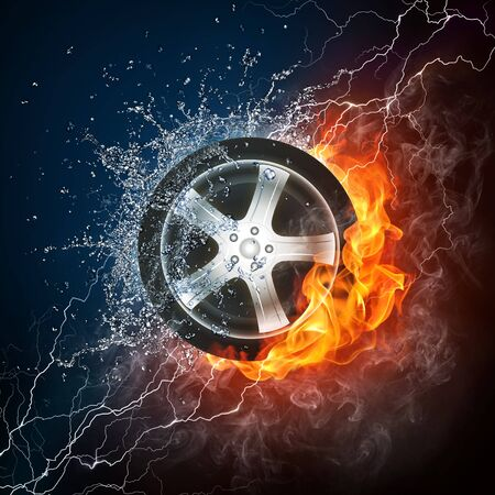 water splash isolated on white background: Car Wheel in Fire and Water. Computer Design.