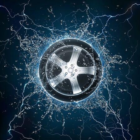 Car Wheel in Water. Computer Design. photo