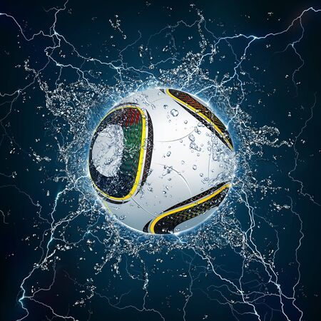 Soccer Ball on Water. 2D Graphics. Computer Design.