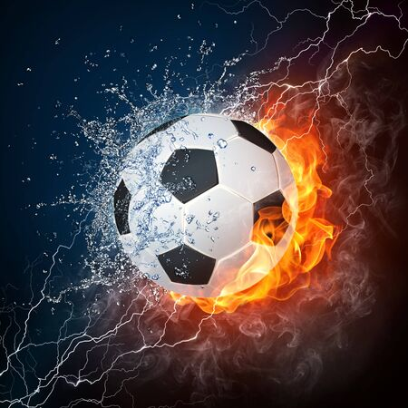 thunder storm: Soccer Ball on Fire and Water. 2D Graphics. Computer Design. Stock Photo