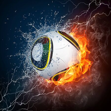 Soccer Ball on Fire and Water. 2D Graphics. Computer Design. Stock Photo