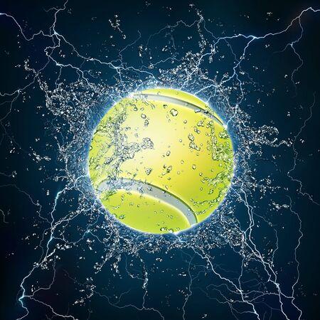 Tennis Ball on Water. 2D Graphics. Computer Design. photo