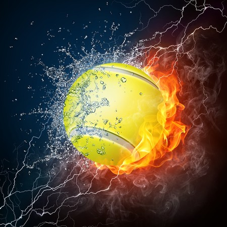 backhand: Tennis Ball on Fire and Water. 2D Graphics. Computer Design.