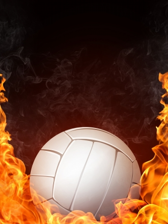 Volleyball Ball on Fire. Computer Graphics. Stock Photo