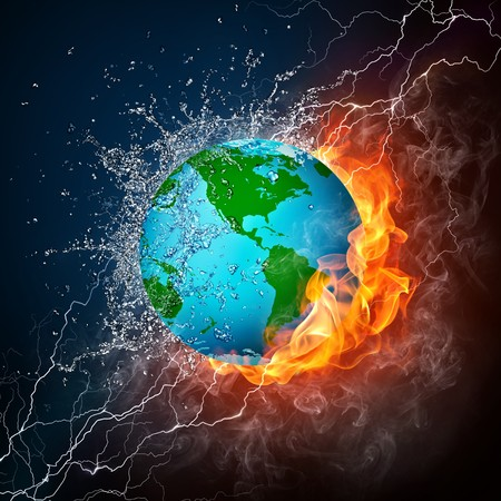 Globe in Fire and Water Isolated on Black Background. Computer Graphics. photo