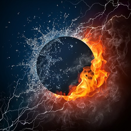Black Hole on Fire and Water. 2D Graphics. Computer Design. Stock Photo