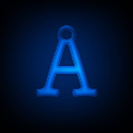 Neon Letter A Isolated on Black Background. All Alphabet in Portfolio. photo
