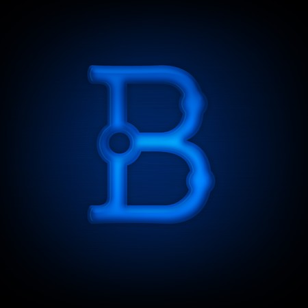 Neon Letter B Isolated on Black Background. Computer Design.