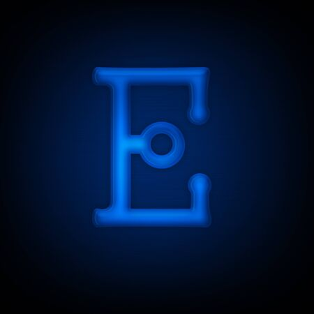 Neon Letter E Isolated on Black Background. All Alphabet in Portfolio. Imagens