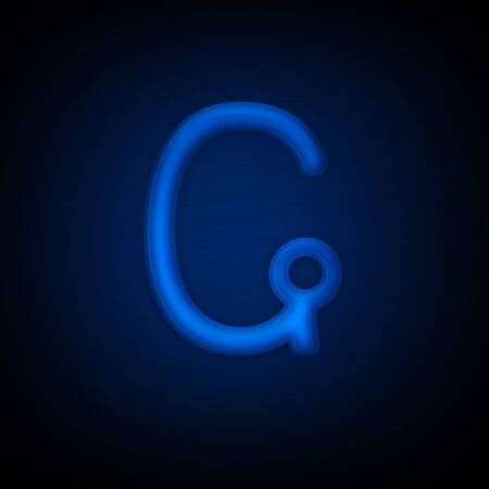 Neon Letter G Isolated on Black Background. Computer Design.