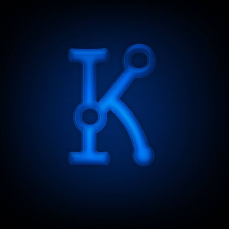 Neon Letter K Isolated on Black Background. Computer Design. Imagens
