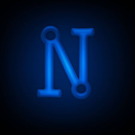 Neon Letter N Isolated on Black Background. Computer Design. Imagens