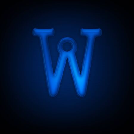 Neon Letter W Isolated on Black Background. All Alphabet in Portfolio.