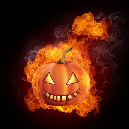 helloween: Helloween Pumpkin in Fire Isolated on Black Background.