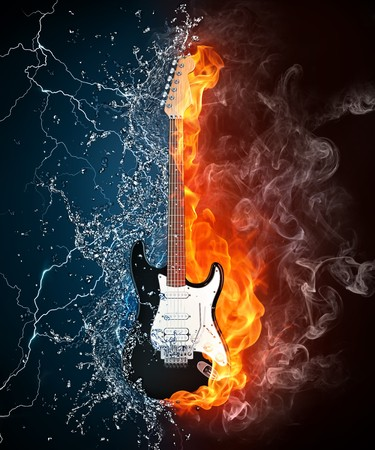 火と水の黒の背景で隔離のエレク トリック ギター。コンピュータ グラフィックス。 写真素材