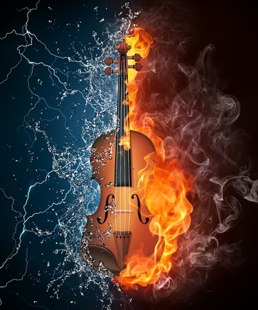 wood burning: Violin in Fire and Water Isolated on Black Background