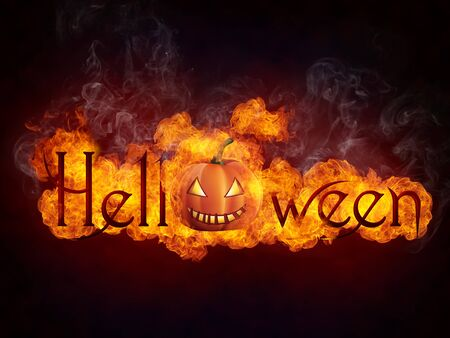 Helloween in Fire Isolated on Black Background.