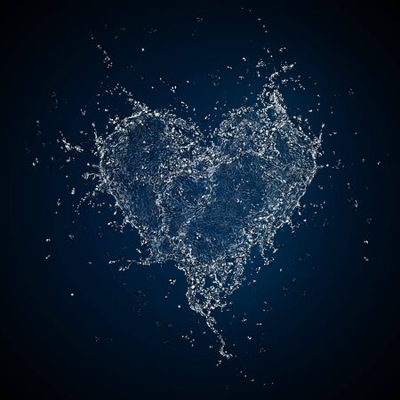 Heart in Water Isolated on Black Background. Computer Graphics. Stock Photo