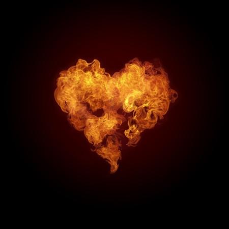 검은 배경에 고립 된 화재에서 심장입니다. 컴퓨터 그래픽.