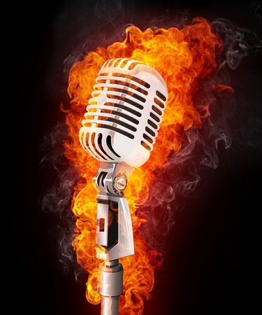 Old Microphone in Fire. Computer Graphics.
