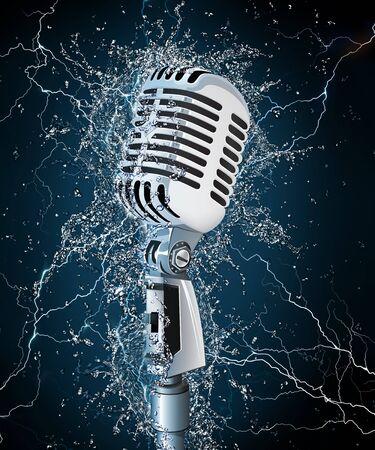 microfono antiguo: Micr�fono antiguo en agua. Dise�o de equipo. Gr�ficos 2D.