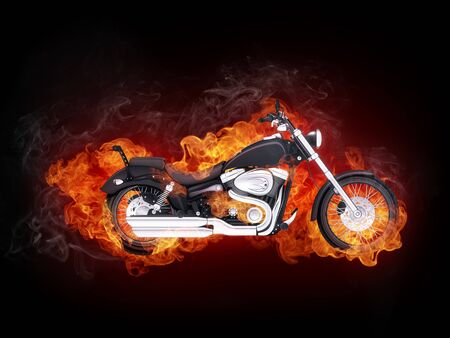 Motorcycle in Fire Isolated on Black Background.. Computer Graphics. photo
