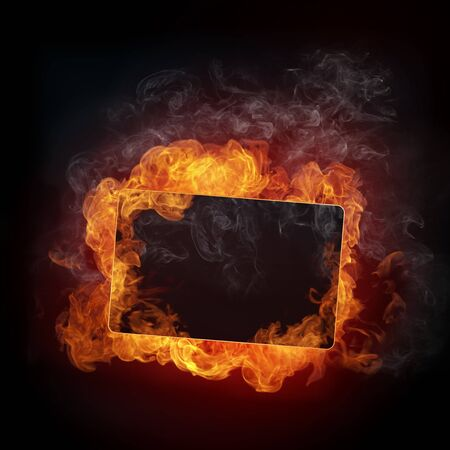 hell fire: Fire Background. Fire isolated on black. Stock Photo
