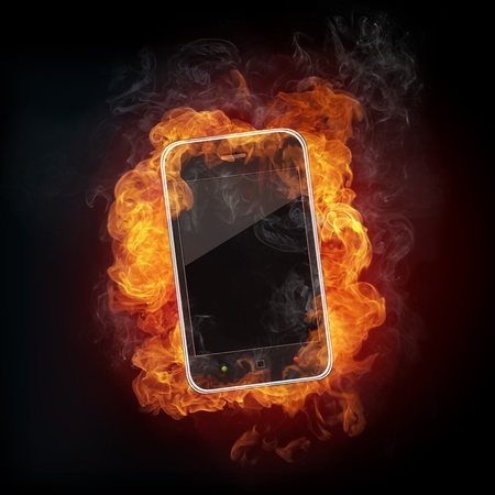 orenge: Smartphone in fire Isolated on Black Background.