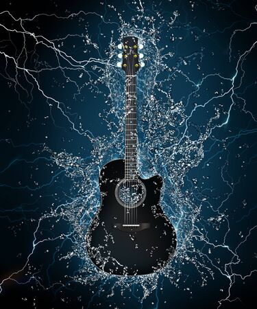 rock   roll: Electric Guitar in Water on Black Background. Computer Graphics.