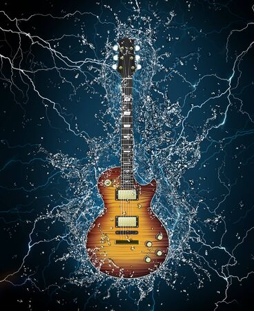 Electric Guitar in Water on Black Background. Computer Graphics. photo