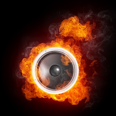 loudspeaker: Loudspeaker on Fire Isolated on Black Background. 2D graphics, computer designe