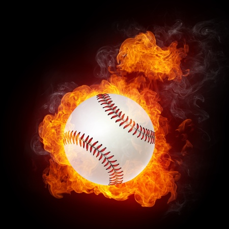 fire symbol: Baseball Ball on Fire. 2D Graphics. Computer Design. Stock Photo