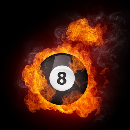Pool Billiards Ball in Fire. Computer Graphics. Stock Photo