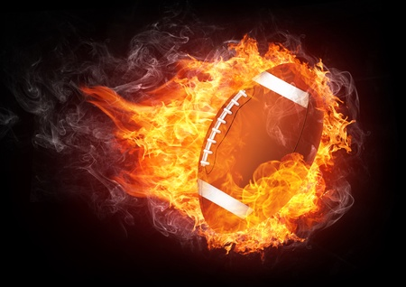 burning: Football Ball Isolated on White Background. Vector