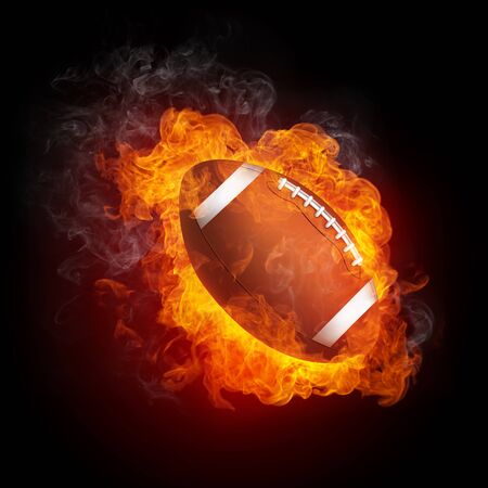 football american: Football Ball in Fire Isolated on Black Background