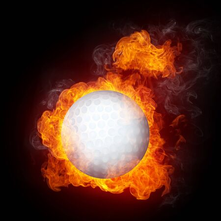 Golf Ball in fire isolated on black background