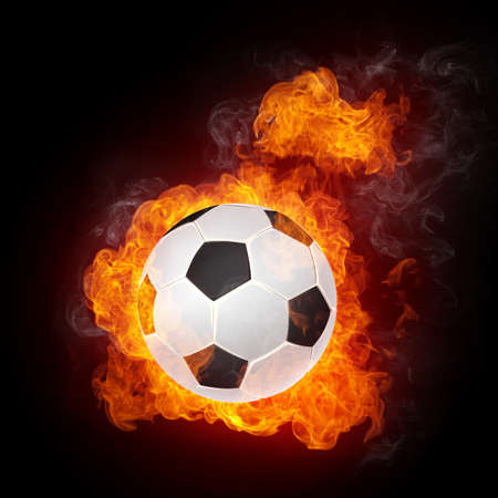 europeans: Soccer Ball on Fire isolater on Black. 2D Graphics. Computer Design.