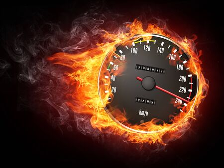 orenge: Speedometer in Fire Isolated on Black Background Stock Photo