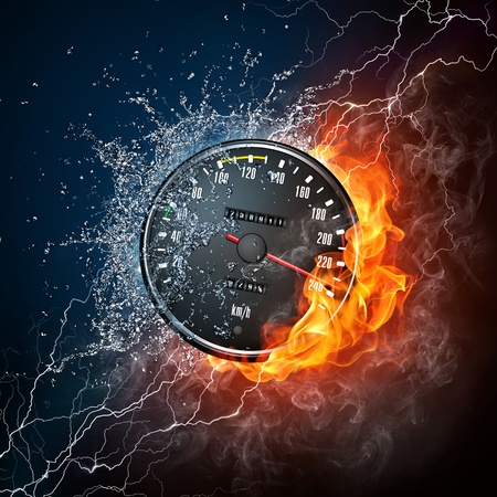 orenge: Speedometer in Fire and water Isolated on Black Background Stock Photo