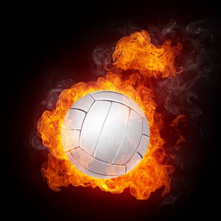 Volleyball Ball on Fire. Computer Graphics. photo