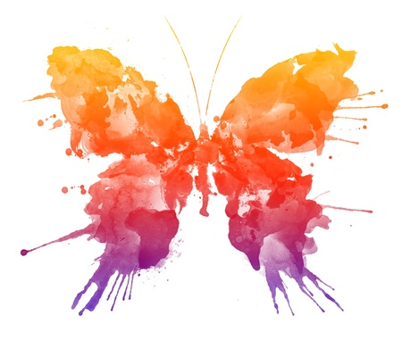 Aquarel Butterfly. Caption = Losse op witte achtergrond Stockfoto