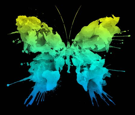 art painting: Watercolor Butterfly Isolated on Black Background Stock Photo