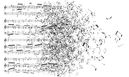 music sheet: music notes dancing away