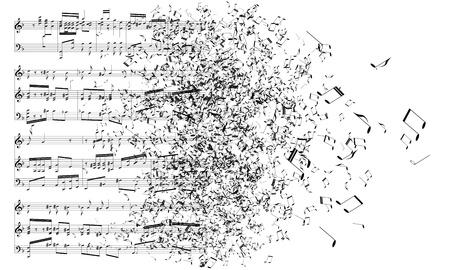 clef de fa: notes de musique danse away Illustration