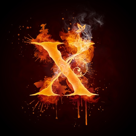 Fire Swirl Letter X