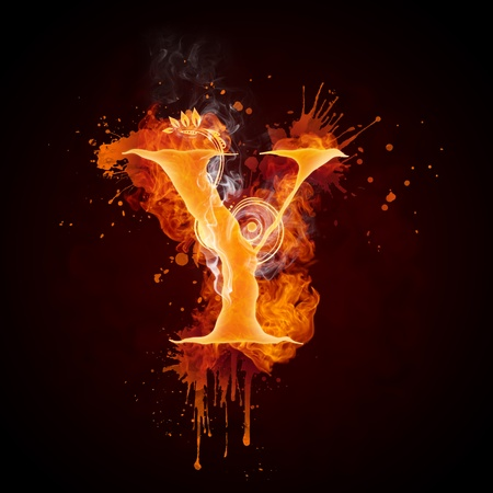 burning: Fire Swirl Letter Y Stock Photo