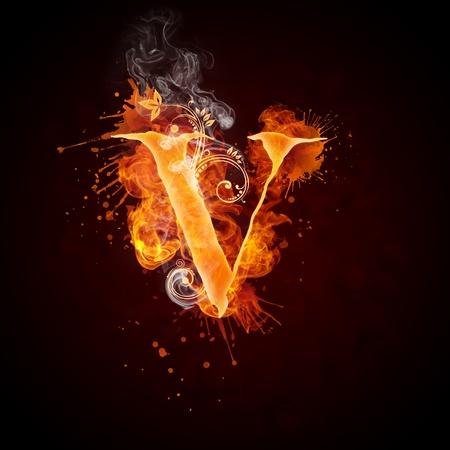 Feuer Windung Buchstabe V Standard-Bild - 9329614
