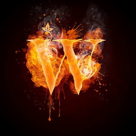 burning: Fire Swirl Letter W Stock Photo