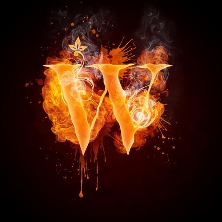 Fire Swirl Letter W Stock Photo