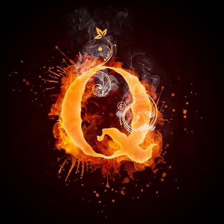 Fire Swirl Letter Q Stock Photo